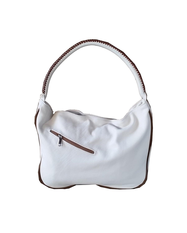Fgalaze Ivory leather purse - fashion multicolored hobo bag - everyday shoulder handbag Sofia