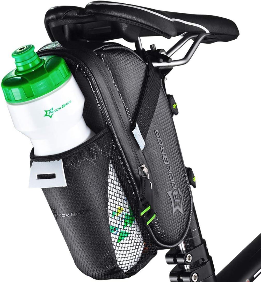 ROCKBROS Bolsa para Sillín de Bicicleta Impermeable de Asiento con Soporte para Luz Trasera para Bicis MTB Bici de Carretera Bici Plegable