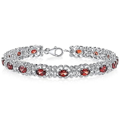 Garnet Bracelet Sterling Silver 8.50 Carats Vintage Design