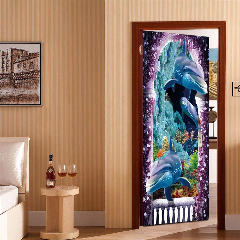 FGPXCD Adhesivos para Puertas Mural De Puerta 77X200Cm Animales Mar Tibur/ón Azul Marino Adhesivo Decorativos Puerta Cocina Sala De Ba/ño Mural Removible Autoadhesivo Impermeable DIY