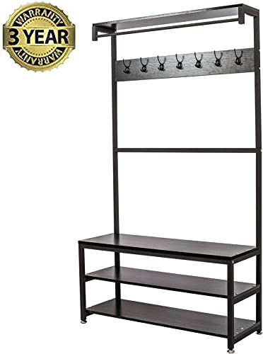 Gelinzon Industrial Modern Coat Rack with Shoe Bench, Vintage Shoe Coat Rack, Hall Tree Entryway ShelfWood Look Accent Furniture with Metal Frame, 3 in 1 Design with 14 Hooks for Garments