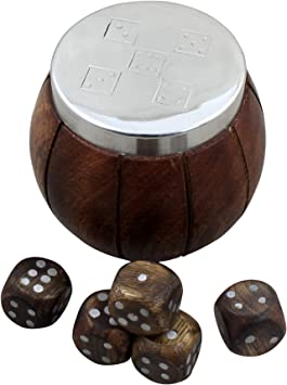 RoyaltyRoute Handmade Wooden Dices Game Set of 5 Dices with Beautiful Dice Box Case
