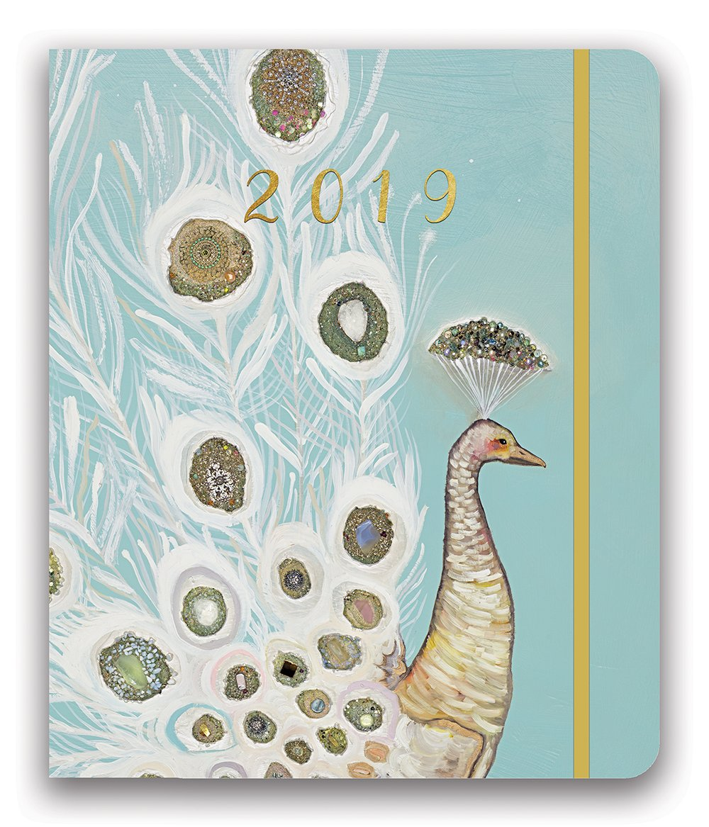 Orange Circle Studio 2019 Hidden Spiral Agenda, August 2018 - December 2019, Gold Foil Peacock