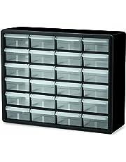 Akro-Mils 10124 24 Drawer Plastic Parts Storage Hardware and Craft Cabinet, 20-Inch x 16-Inch x 6.5-Inch, Black