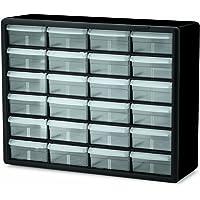 Akro-Mils 10724 - clóset de plástico con 24 cajones para Piezas de Almacenamiento y Manualidades, 20 Pulgadas x 16 Pulgadas x 6-1/2 Pulgadas, Color Negro