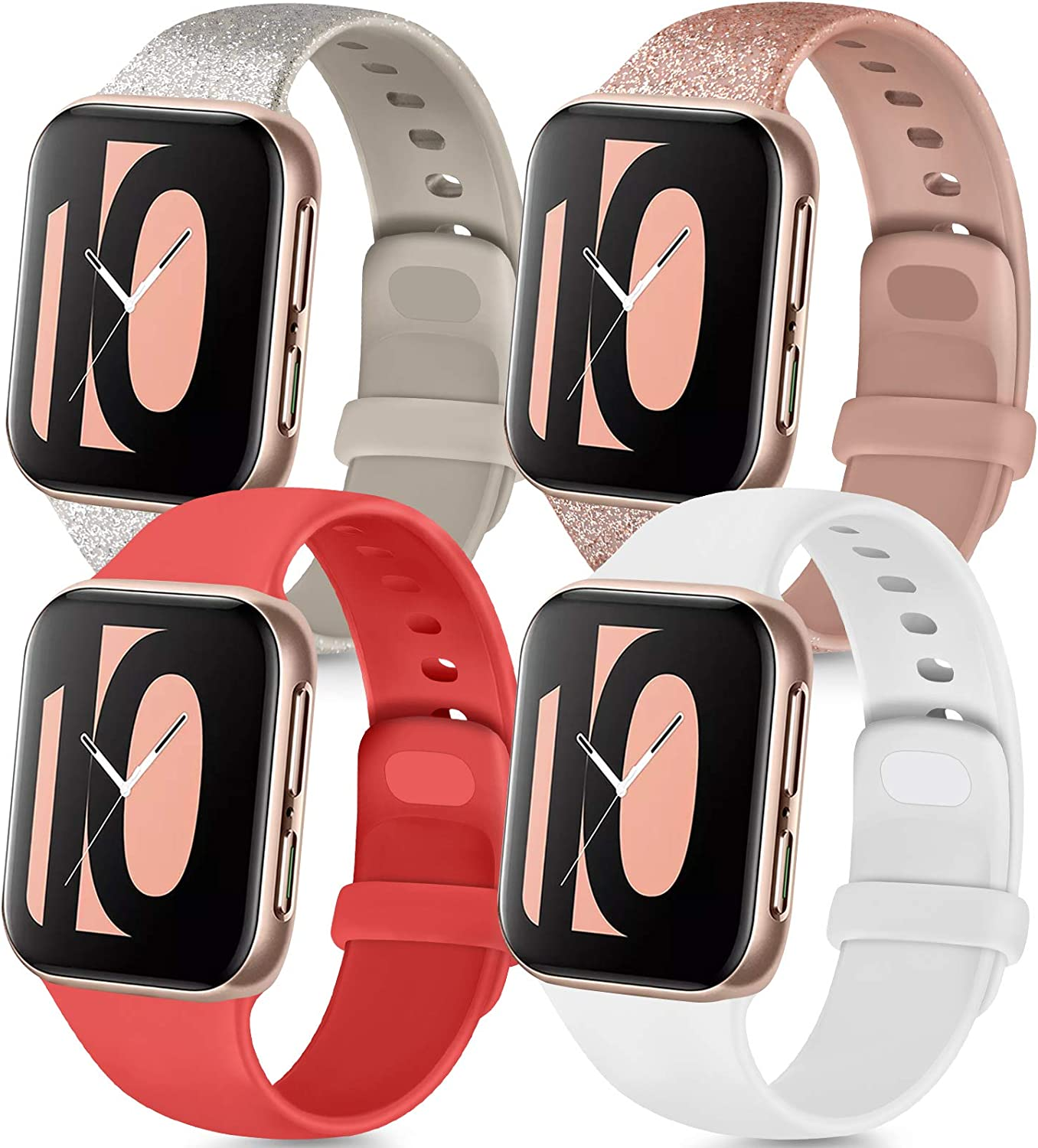 Tobfit 4 Pack Compatible with Apple Watch Band 38mm 42mm 40mm 44mm, Soft Silicone Replacement Band Compatible with iWatch Series 6 5 4 3 SE (Glitter Rose/Glitter Silver/Red/White, 38mm/40mm S/M)