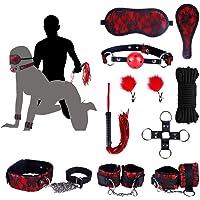 BDSM Kit Bondage Domination Soumission Asofty -SM Sex Toys 10 Accessoires en Rouge Dentelle Idéal Pour Les Couples