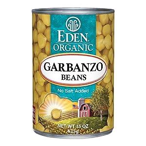 Eden Organic Garbanzo Beans, No Salt Added, 15-Ounce Cans (Pack of 12)