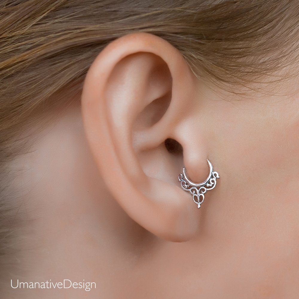 Sterling Silver Tragus Earring, Tribal Indian Hoop Ring Piercing, Indian Style, fits Helix, Cartilage, Rook, 18g, Handmade Jewelry