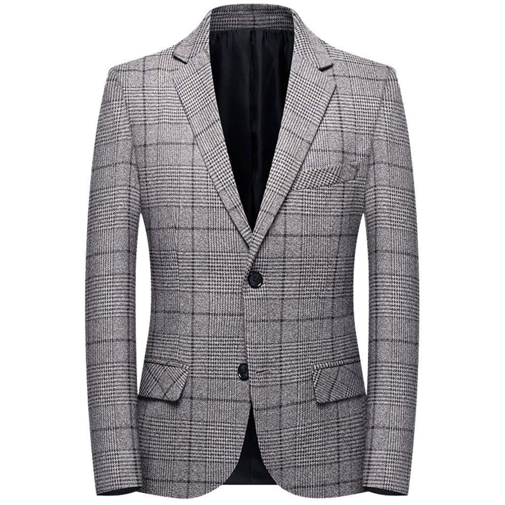 Men's Blazer Jacket Herringbone Sport Coat Smart Formal Dinner Cotton Suits Slim Fit One Button Notch Lapel Coat with Pocket M-4XL by VEZARON