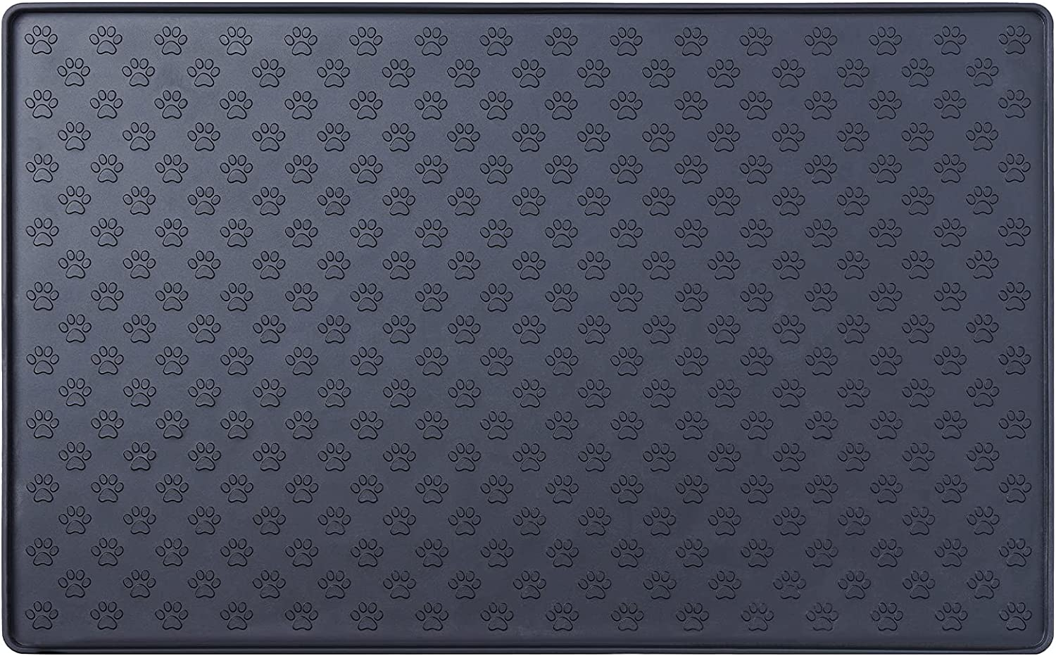 IMHAPO Silicone Dog Food Mat, Waterproof Pet Feeding Mat with Raised Edges, Nonslip Dog Bowl Mat for Floor, Washable, Easy to Clean, Dog Paw Printed, Suitable for Small, Medium and Large Pet