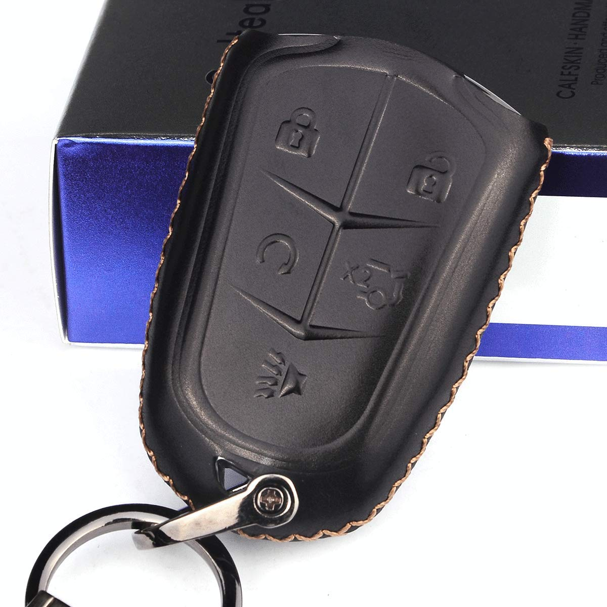 MECHCOS Compatible with 2015-2018 Cadillac Escalade Leather Remote Key fob Cover Leather fit for Cadillac Escalade Key fob case Holder only for 6 Buttons Black Color
