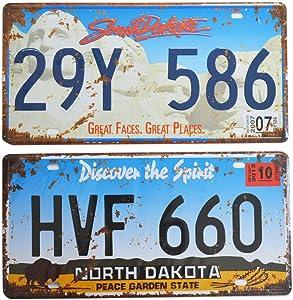 2 Pieces Prop License Plates, Number Tags Replica, Wall Home DIY Man Cave Garage Decor, 6x12 Inch (North Dakota & South Dakota)