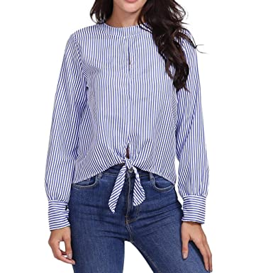 Chemisier à Manches Longues Pas Cher Rayé Chic Blouse T-Shirt Femmes ... cd9fcb4c0cd