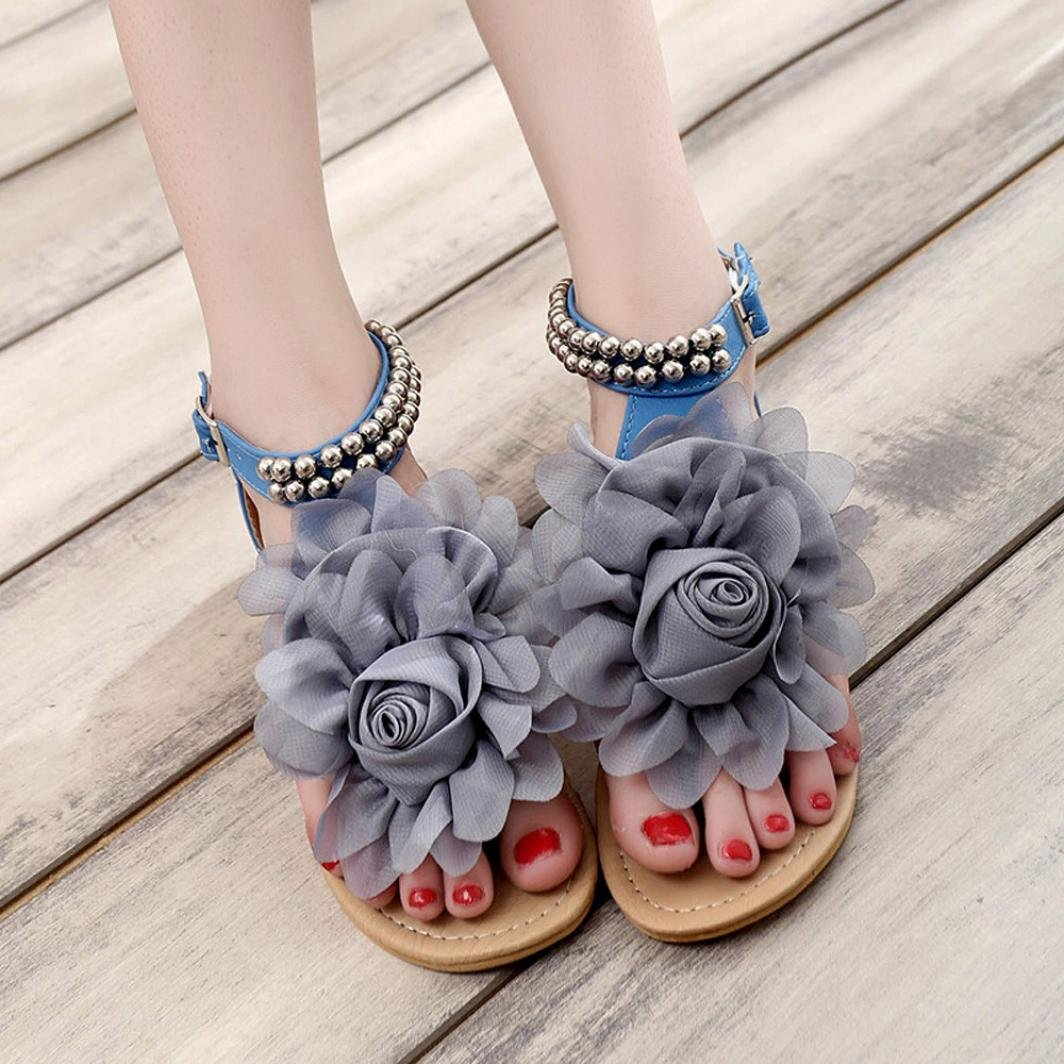 Sandals, UPLOTER Women Bohemian Style Beaded Summer Flower Flat Flip Flops Shoes Sweet Sandals B071DNV92X 6 B(M) US|Blue