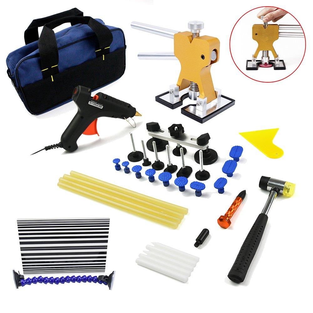 Wcaro - Herramientas para reparación de abolladuras sin pintura para coche con levantador de abolladuras dorado, tirador de abolladuras, extractor de ...