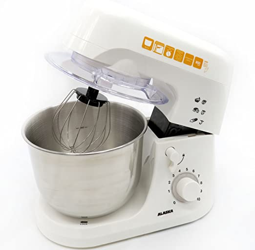 Alaska Robot de cocina SM 800 | Blanco | – Amasadora, 800 W, 4,2 L Cuenco Acero Inoxidable | pies de ventosa antideslizantes | Ganchos para amasar | mezclador | Batidor | 10 velocidades: Amazon.es: Hogar