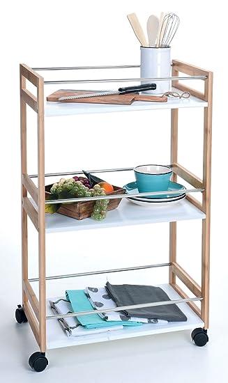 Spetebo Bambus Küchentrolley 80cm - 3 weiße Ablagen - Küchenwagen ...