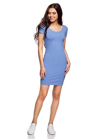 oodji Collection Mujer Vestido Ajustado con Escote Pronunciado en la Espalda, Azul, ES 34