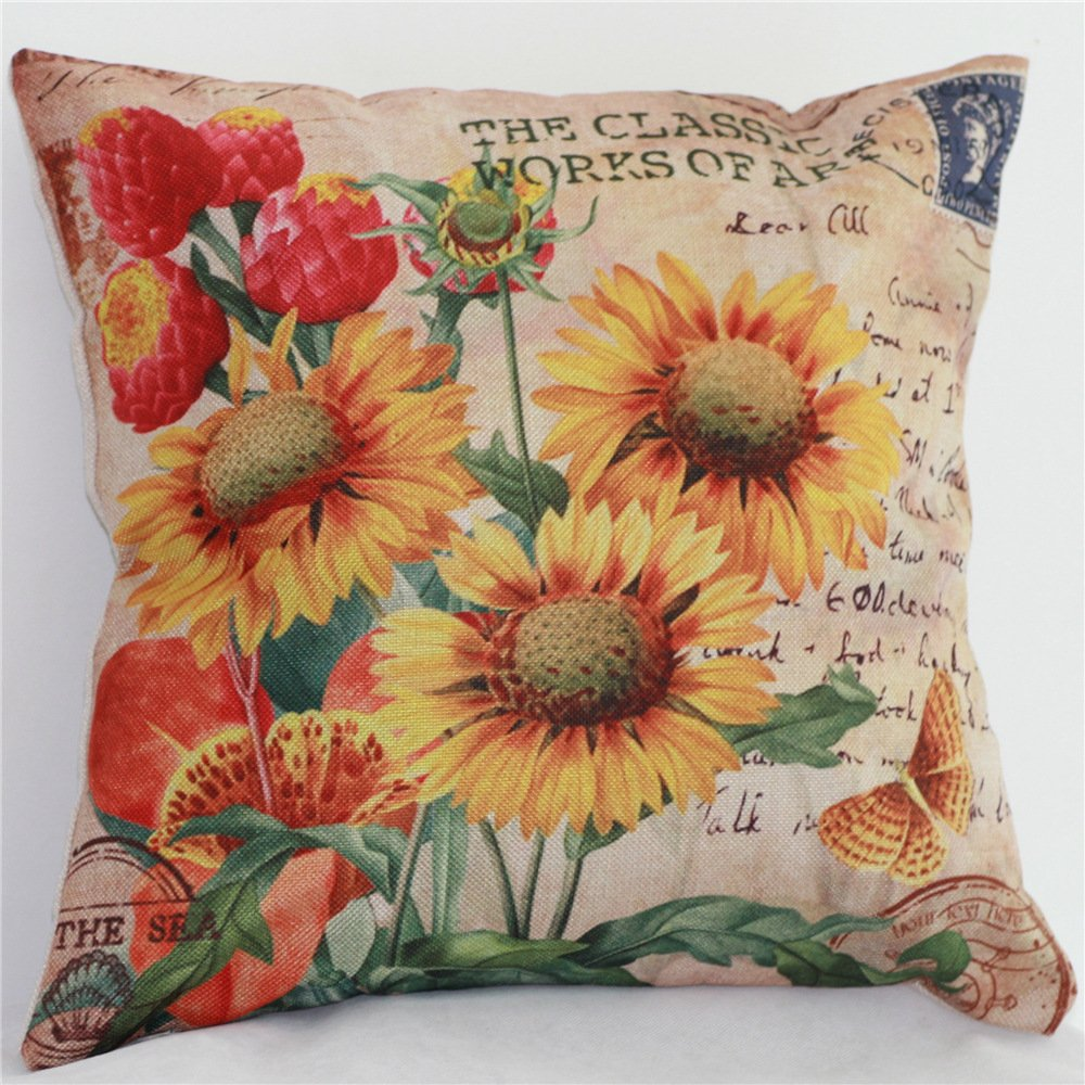 Yunko Sunflower Cotton Linen Square Pillowcase Decorative Cushion Throw Pillow Covers, 18 X 18 Inch