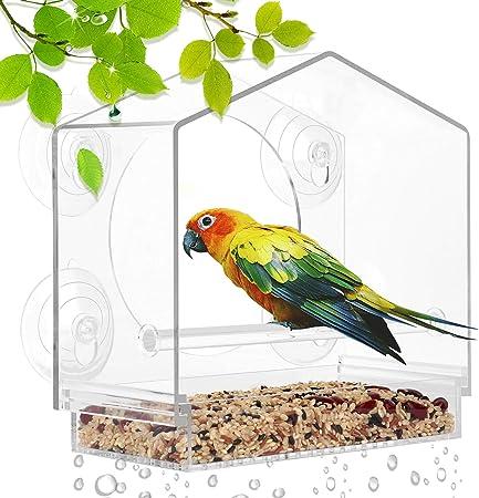 Window Bird Feeders with Hanging Strong Suction Cups Acrylic Mealworm Feeders for Outdoor Wild Bird Hummingbird Finch Chickadees Cardinals Bluebirds Songbirds Bird House 2 Pack
