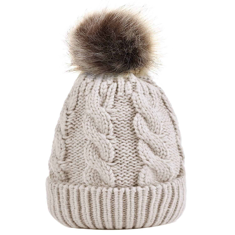 3c044e1a3 Zoylink Knit Hat, Ladies Winter Warm Chunky Knitted Cap Bobble Hat Beanie  Headwear with Pom Pom for Women Girls