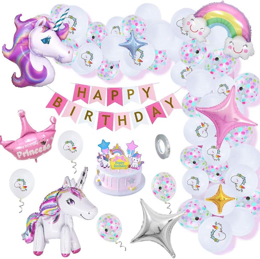Globos Cumpleaños Unicornio con Adorno Pastel DIY, Pancarta Feliz Cumpleaños, Globos Blancos & Confeti & Papel Aluminio, Sonrisa Rainbow Cloud para Tema Del Unicornio Fiesta Cumpleaños Niños N