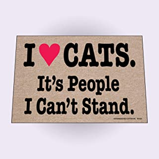 product image for High Cotton I Heart Cats. It's People I Can't Stand. Humorous Indoor/Outdoor Doormat