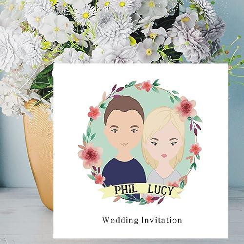 Cartoon Couple Illustration Wedding Invitations Personalised
