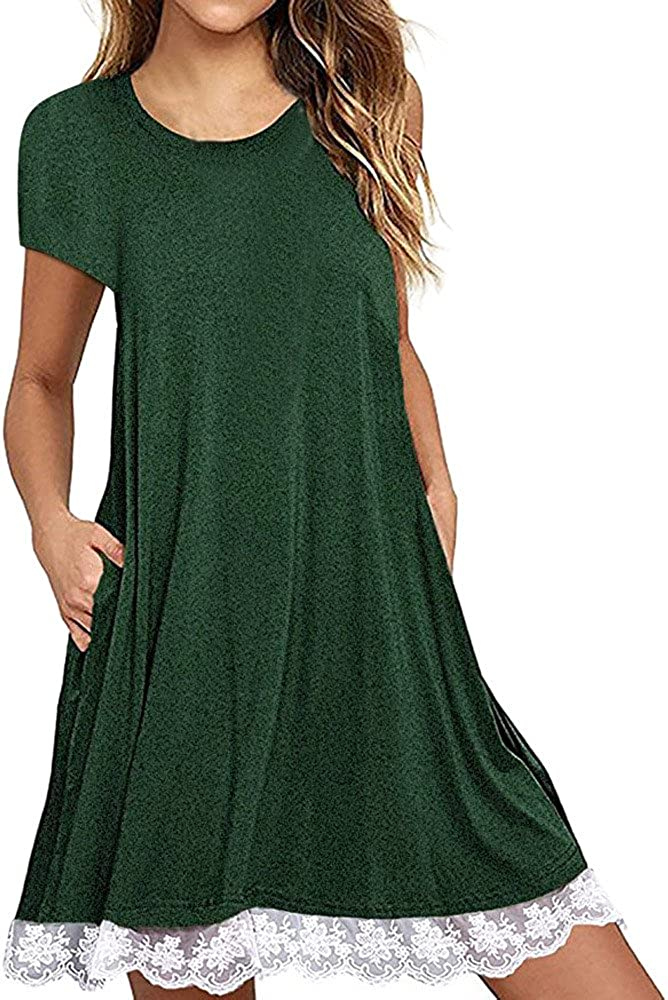 Handyulong Womens Dresses Summer Short Sleeve Lace Casual Loose Solid Tunic Tank Dress with Pockets Holiday Sundress