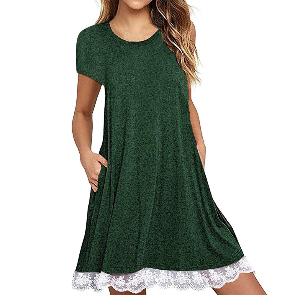 Tloowy Women Summer Sleeveless Tank Dress Loose Lace Crochet Swing T-Shirt Dress Beach Sundress (Short Sleeve-Green, S)
