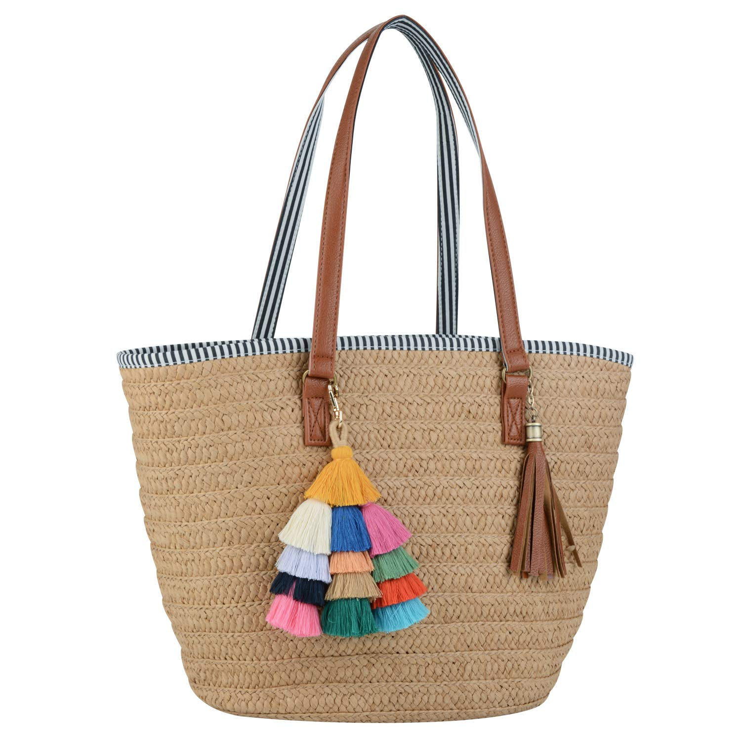 COOFIT Straw Purse, Straw Beach Bag Pompom Shoulder Bag Summer Woven Bags by COOFIT