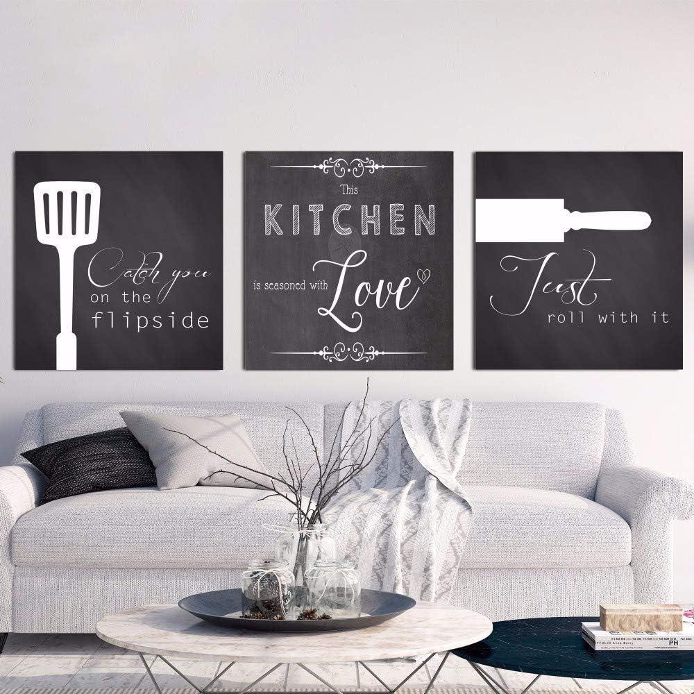 Vintage en blanco y negro de pared cuadros de estilo n/órdico lienzo Art Print cocinar con amor cocina cotizaciones pintura decoraci/ón para el hogar 50x50cmx3 sin marco