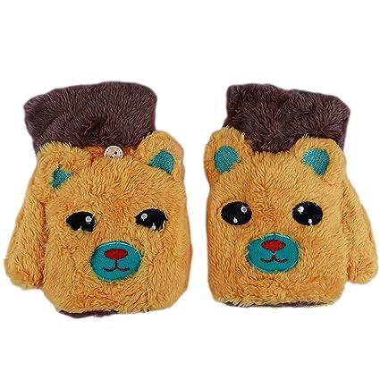 Brown and Orange Bear Fingerless//Mitten Style Fashion Gloves