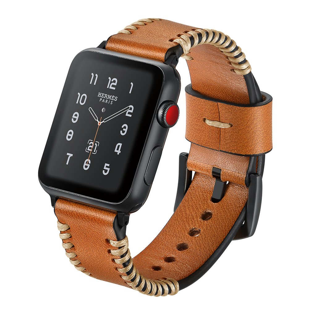 SUNKONG for Apple Watch Bands 42mm Leather Brown Replacement Wristband for iWatch Series 3/2/1 Sport and Edition