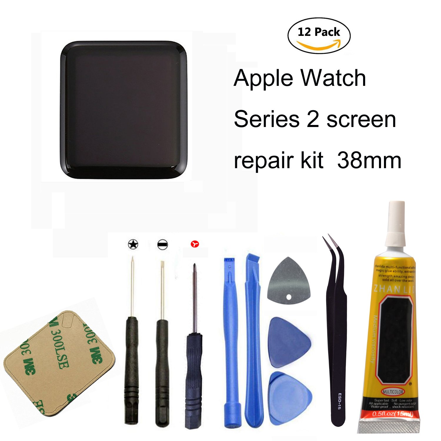 Ogodeal Apple Watch Series 2 LCD Screen Repair Kit Replacement with Repair Tool Set For Series 2 38MM A1757 & A1816 (S2-38mm)