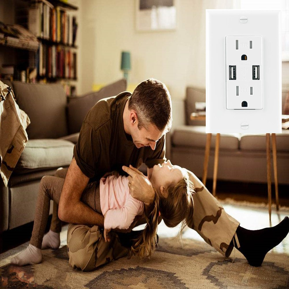 Ecoeler 2 Pack-UL Listed USB Charger Wall Outlet High Speed Dual USB Charger 3.1A Charging Capability 15A Tamper Resistant Duplex Receptacle Child Proof Safety Wall Plate Included by ECOELER (Image #6)