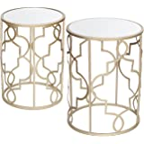 Joveco Golden Nesting Modern Designed Accent Metal Drum Round End Table with Glass Top, Set of 2