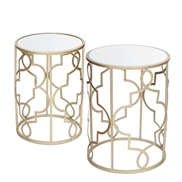 Joveco Golden Nesting Modern Designed Accent Metal Drum Round End Table  With Glass Top, Set