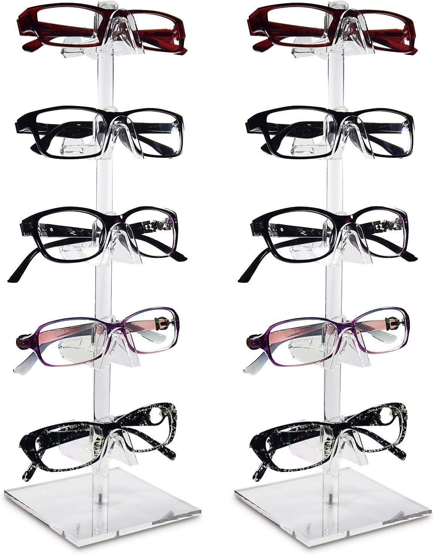 Mooca 2 Piece Set Acrylic Eyeglasses Frame Riser Display Stand Sunglasses Rack Sunglasses Rack Holder Acrylic Eyewear Display (5 Frames for Each Holder)
