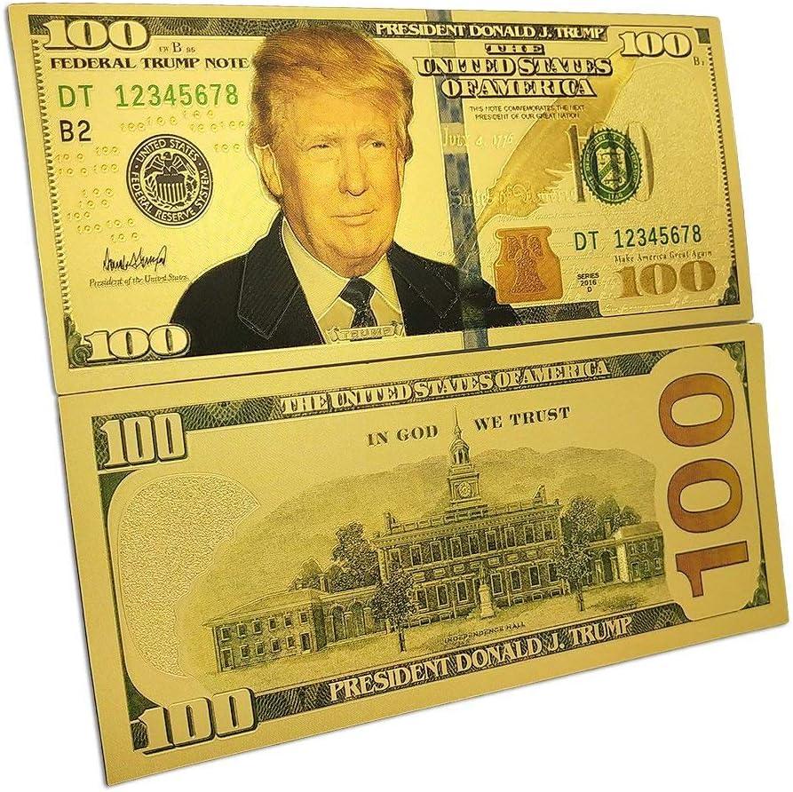Aut/éntico chapado en oro de 24 quilates para coleccionistas de billetes en moneda detalle incre/íble en esta nota federal Trump Donald Trump Bill de 100 d/ólares