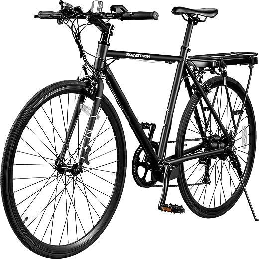 SWAGTRON EB12 Electric Bike   City Commuter eBike w/ 700c Wheels, 7-Speed Shimano Gears, Swappable Battery   Classic Diamond Frame & Flat Bar Design, Black, one Size