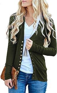 Basic Faith Women s S-3XL V-Neck Button Down Knitwear Long Sleeve Soft Knit d2bcd9055