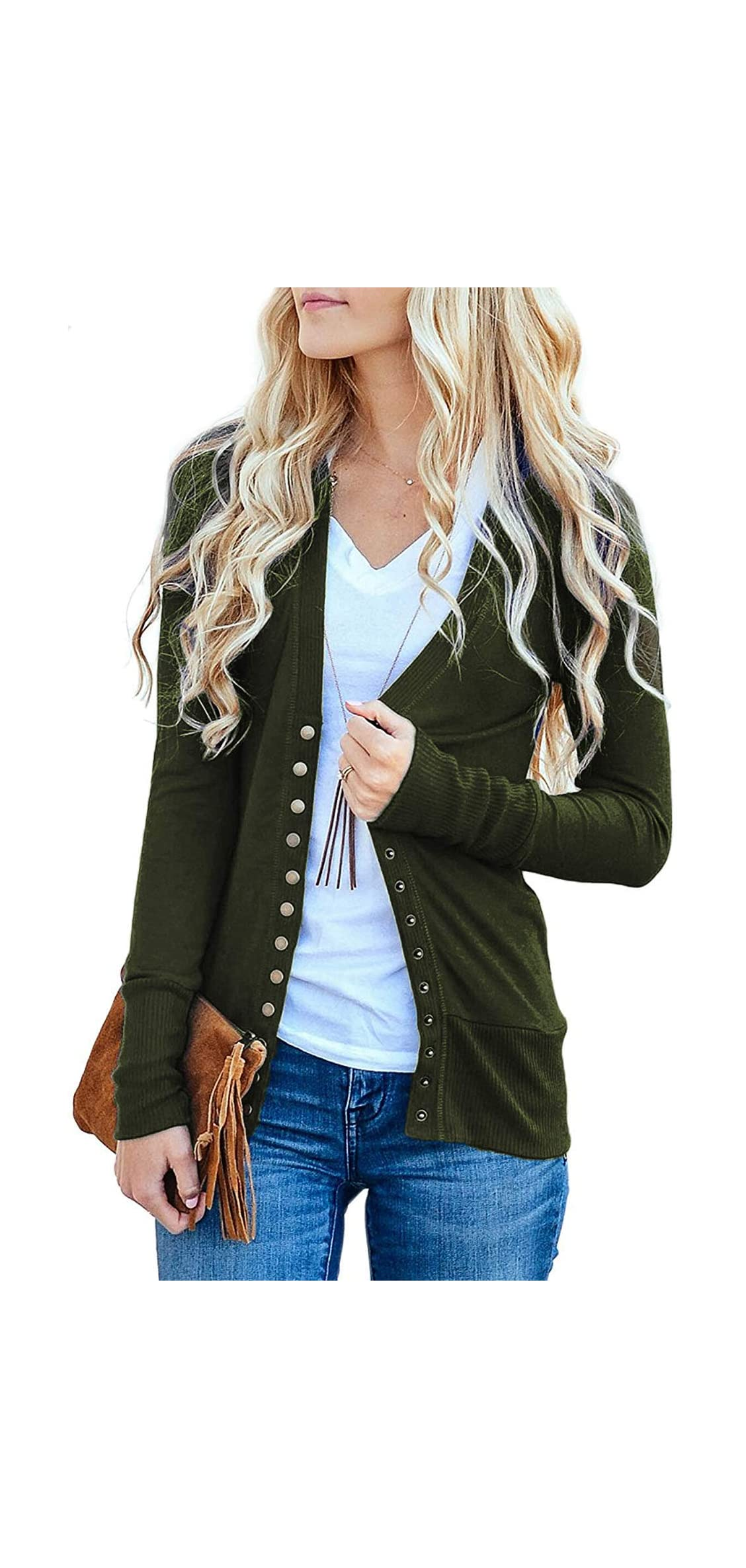 Women's V-neck Solid Button Tops Long Sleeve Knit