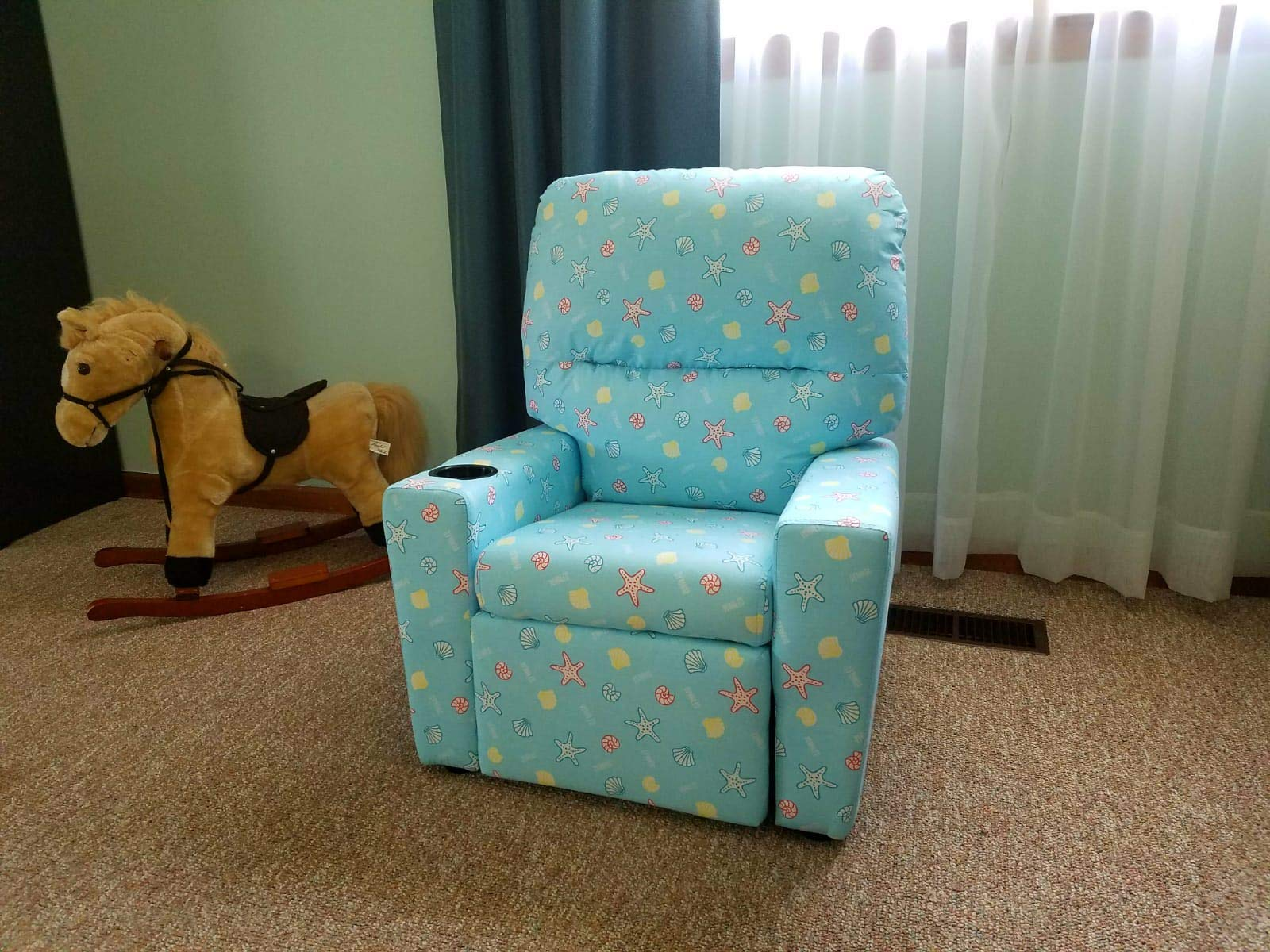 MALKO Upholstered Kids Recliner Children Sofa with Cup Holder for Kids Under 50'' (Coral Blue) by MALKO