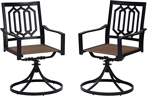 Vicllax Outdoor Swivel Dining Chairs Patio Furniture Black Set of 2