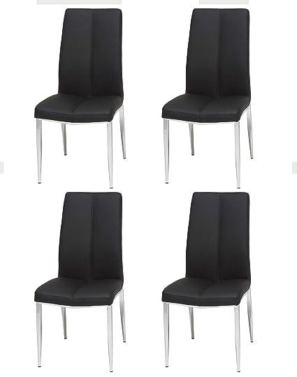 Remarkable Amazon Com Milan Adella Sc Blk Adella Faux Leather Side Creativecarmelina Interior Chair Design Creativecarmelinacom