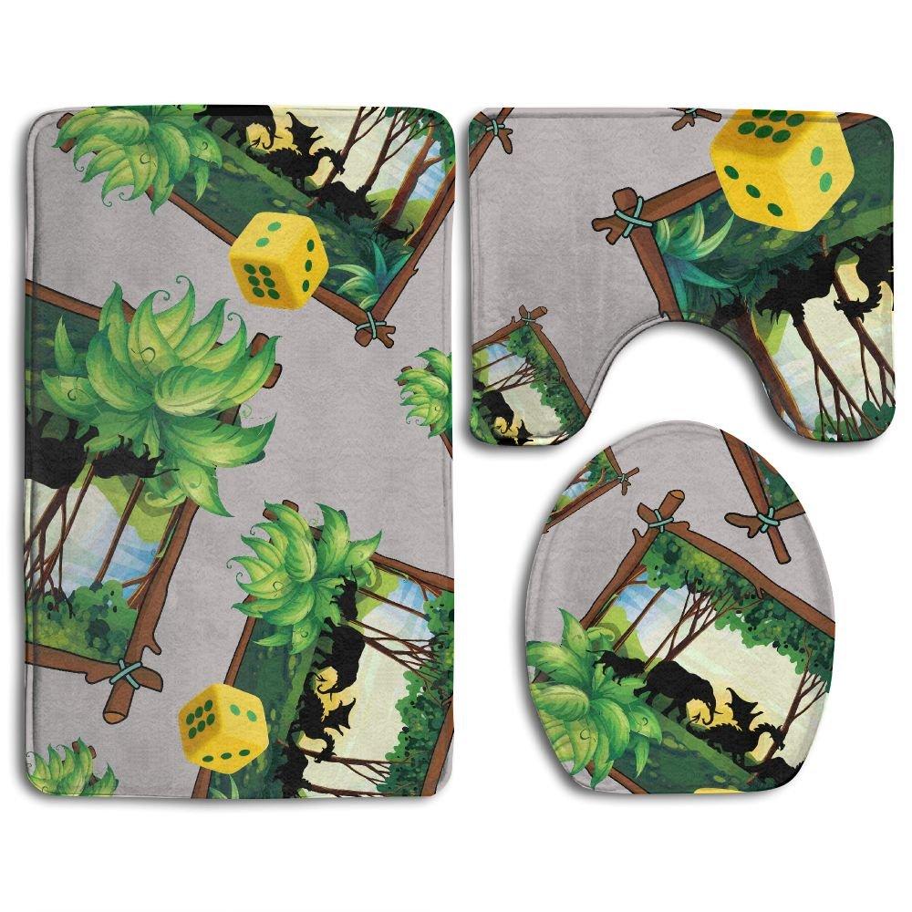 Jungle Animals Fantasy Board Game Cartoon 3 Piece Bathroom Non-Slip Mat Set Bath Rugs