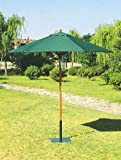 HOMEGARDEN Ombrellone tondo in legno e telo in poliestere verde