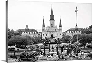 St. Louis Cathedral and Jackson Square, Canvas Wall Art Print, New Orleans Artwork